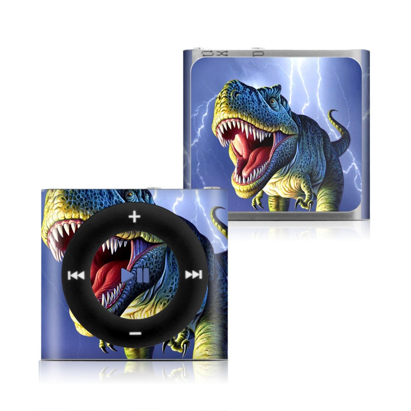 iPod shuffle 4th Gen Skin design of Dinosaur, Extinction, Tyrannosaurus, Velociraptor, Tooth, Jaw, Organism, Mouth, Fictional character, Art with blue, green, yellow, orange, red colors