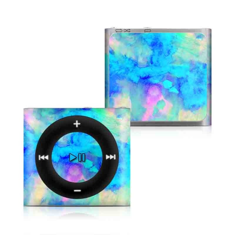 iPod shuffle 4th Gen Skin design of Blue, Turquoise, Aqua, Pattern, Dye, Design, Sky, Electric blue, Art, Watercolor paint with blue, purple colors