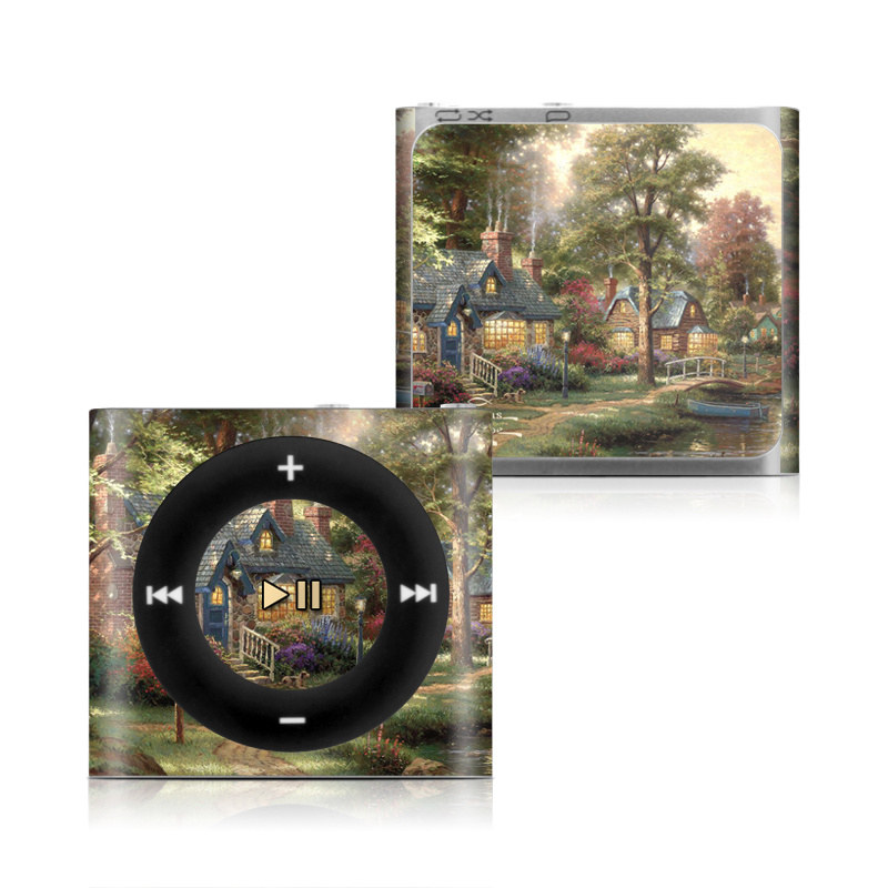 iPod shuffle 4th Gen Skin design of Painting, Natural landscape, Home, House, Tree, Waterway, Bank, Landscape, Watercolor paint, Art with black, green, gray, red, yellow, pink colors