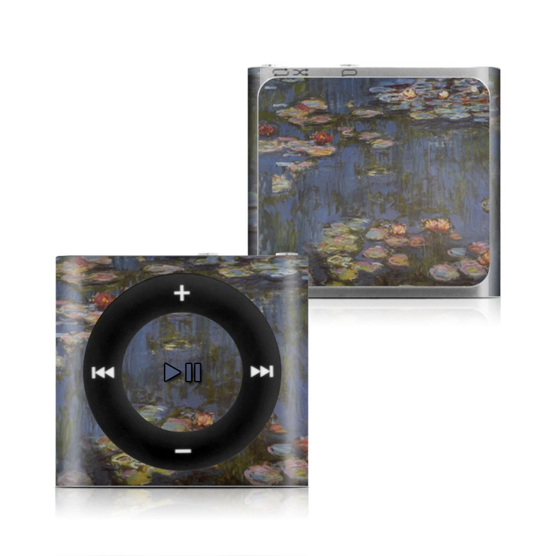 iPod shuffle 4th Gen Skin design of Pond, Water, Painting, Watercourse, water lily, Reflection, Aquatic plant, Leaf, Fish pond, Still life with black, blue, gray, red, green colors