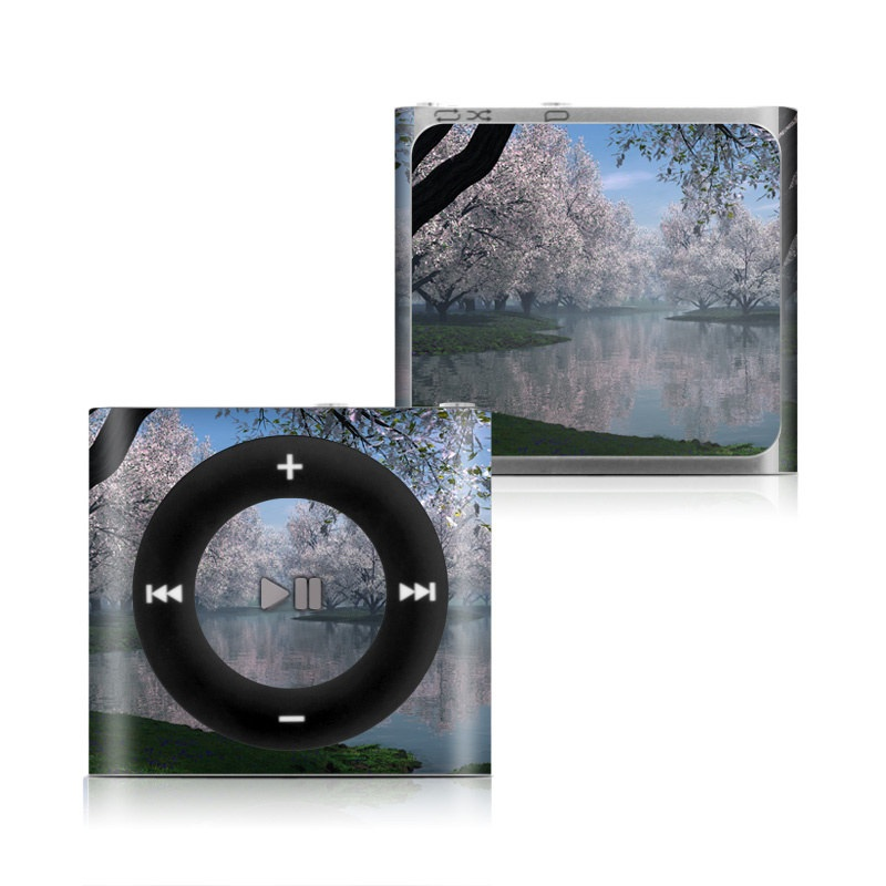 iPod shuffle 4th Gen Skin design of Nature, Natural landscape, Reflection, Water, Tree, Bank, Atmospheric phenomenon, Lake, Spring, Morning with black, gray, blue colors