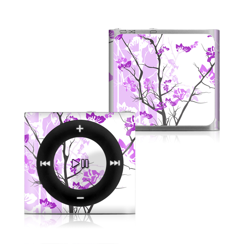 iPod shuffle 4th Gen Skin design of Branch, Purple, Violet, Lilac, Lavender, Plant, Twig, Flower, Tree, Wildflower with white, purple, gray, pink, black colors