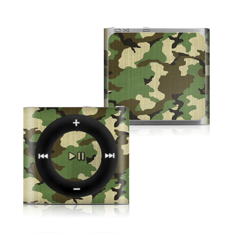 iPod shuffle 4th Gen Skin design of Military camouflage, Camouflage, Clothing, Pattern, Green, Uniform, Military uniform, Design, Sportswear, Plane with black, gray, green colors