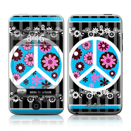 Peace Flowers Black iPod touch Skin