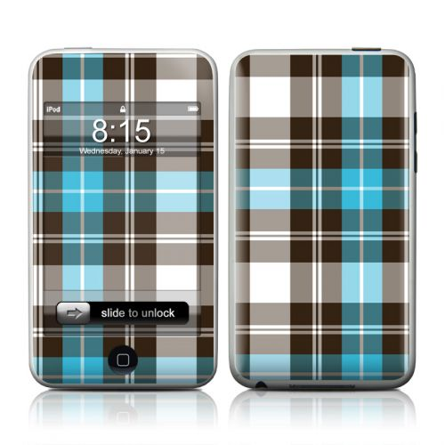 Turquoise Plaid iPod touch Skin