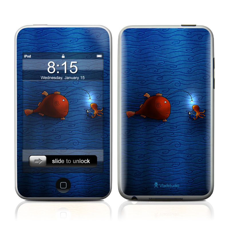 iPod touch 1st Gen Skin design of Deep sea fish, Anglerfish, Illustration, Fish, Animation, Art with blue, red colors
