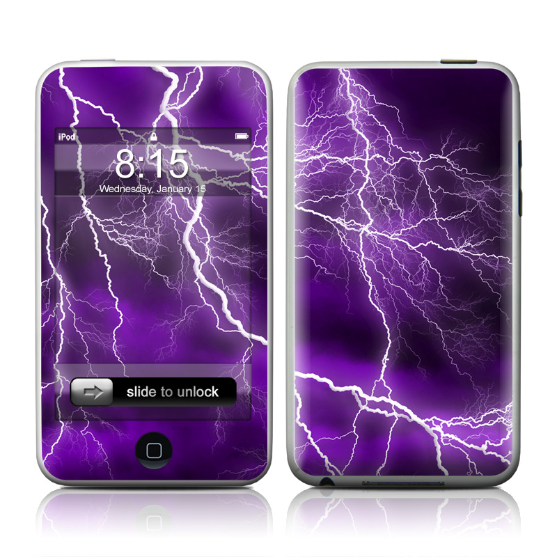 iPod touch 1st Gen Skin design of Thunder, Lightning, Thunderstorm, Sky, Nature, Purple, Violet, Atmosphere, Storm, Electric blue with purple, black, white colors