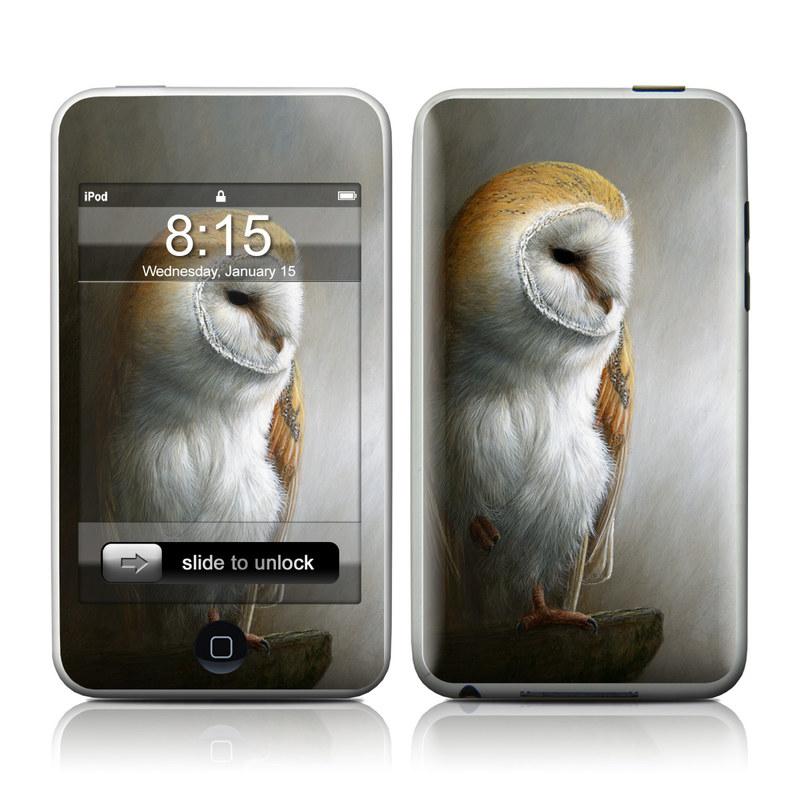 iPod touch 1st Gen Skin design of Barn owl, Owl, Bird, Bird of prey, Beak, Wildlife with yellow, white, orange, brown colors