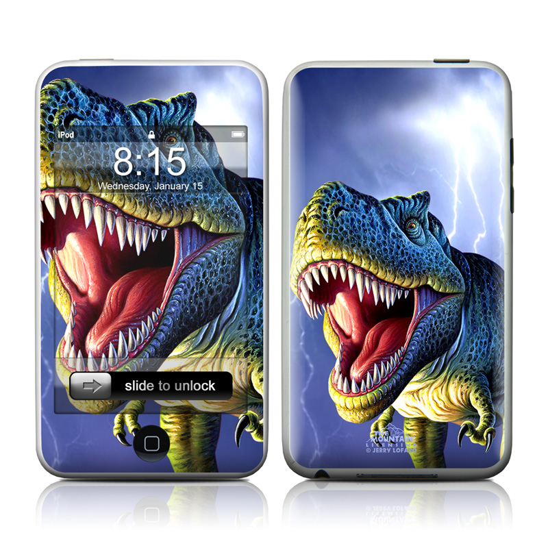 iPod touch 1st Gen Skin design of Dinosaur, Extinction, Tyrannosaurus, Velociraptor, Tooth, Jaw, Organism, Mouth, Fictional character, Art with blue, green, yellow, orange, red colors