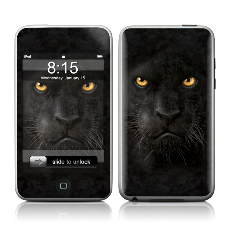iPod touch 1st Gen Skin design of Mammal, Vertebrate, Cat, Felidae, Black cat, Small to medium-sized cats, Whiskers, Carnivore, Snout, Eye with black, orange, yellow colors