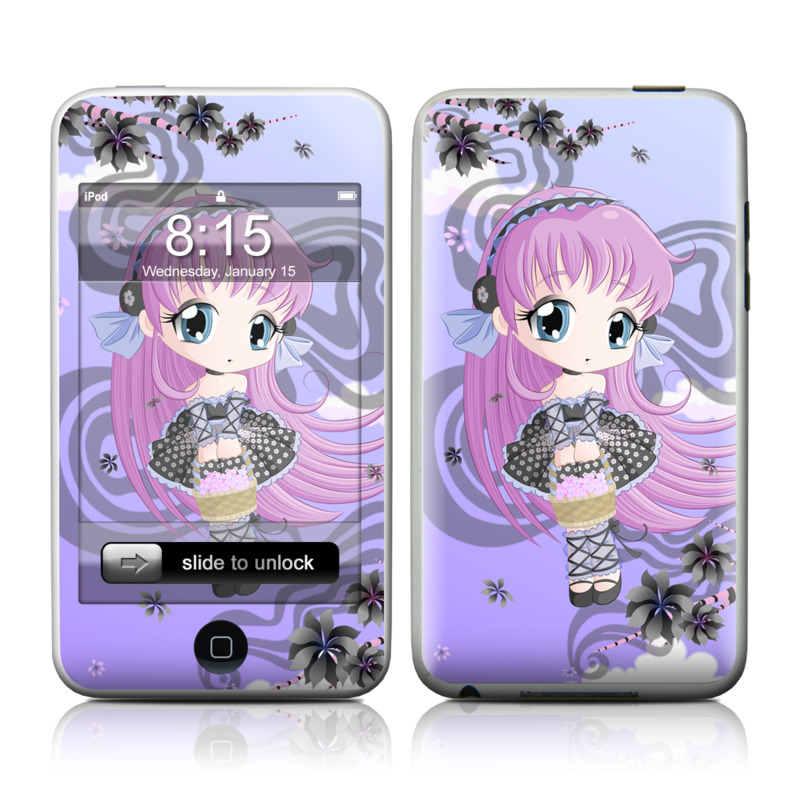 iPod touch 1st Gen Skin design of Cartoon, Anime, Violet, Illustration, Pink, Purple, Lilac, Text, Graphic design, Cg artwork with purple, pink, yellow, black, white colors