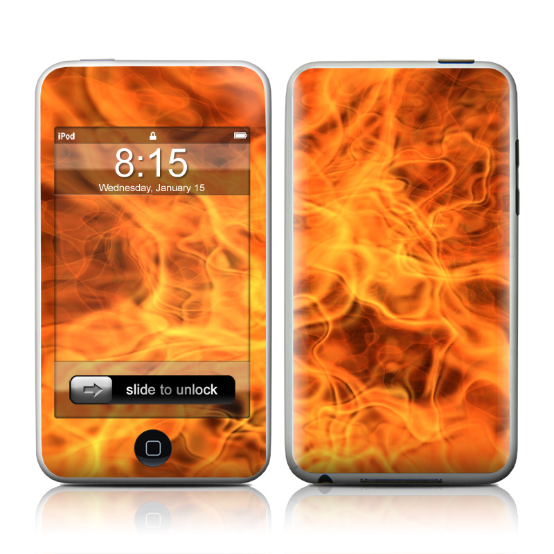 iPod touch 1st Gen Skin design of Flame, Fire, Heat, Orange with red, orange, black colors