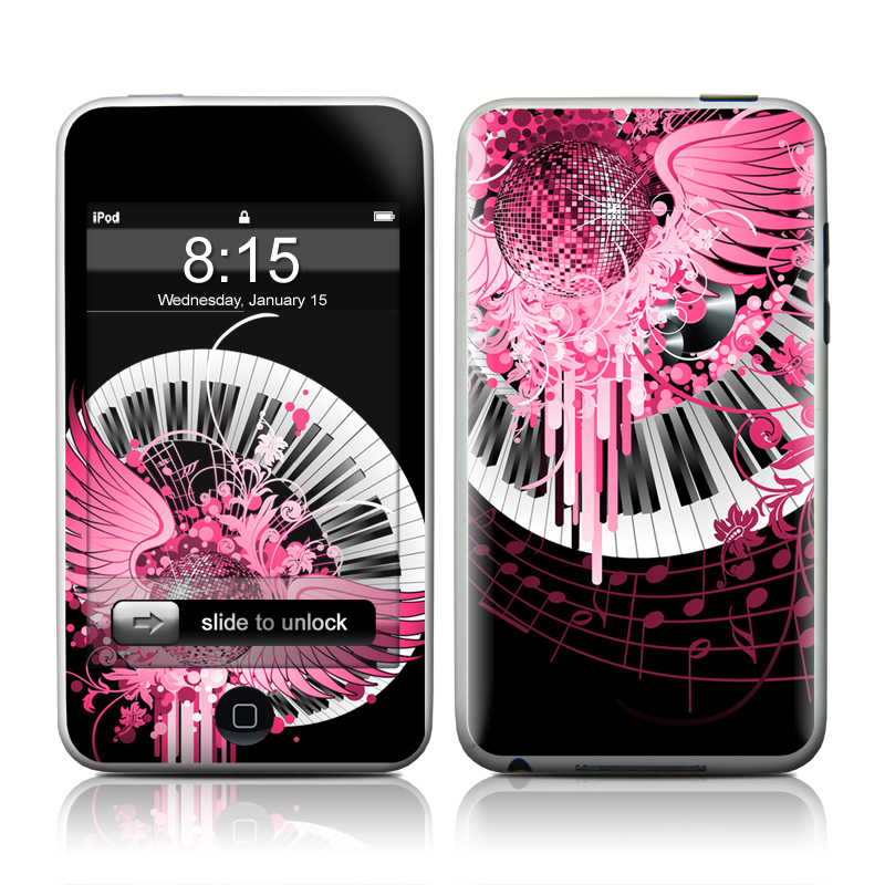 iPod touch 1st Gen Skin design of Pink, Graphic design, Purple, Illustration, Design, Pattern, Magenta, Graphics, Font, Plant with black, gray, purple, pink, red, white colors