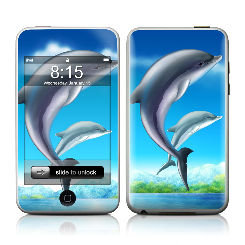 iPod touch 1st Gen Skin design of Dolphin, Common bottlenose dolphin, Short-beaked common dolphin, Bottlenose dolphin, Marine mammal, Cetacea, Wholphin, Tucuxi, Fin, Water with blue, gray, black colors