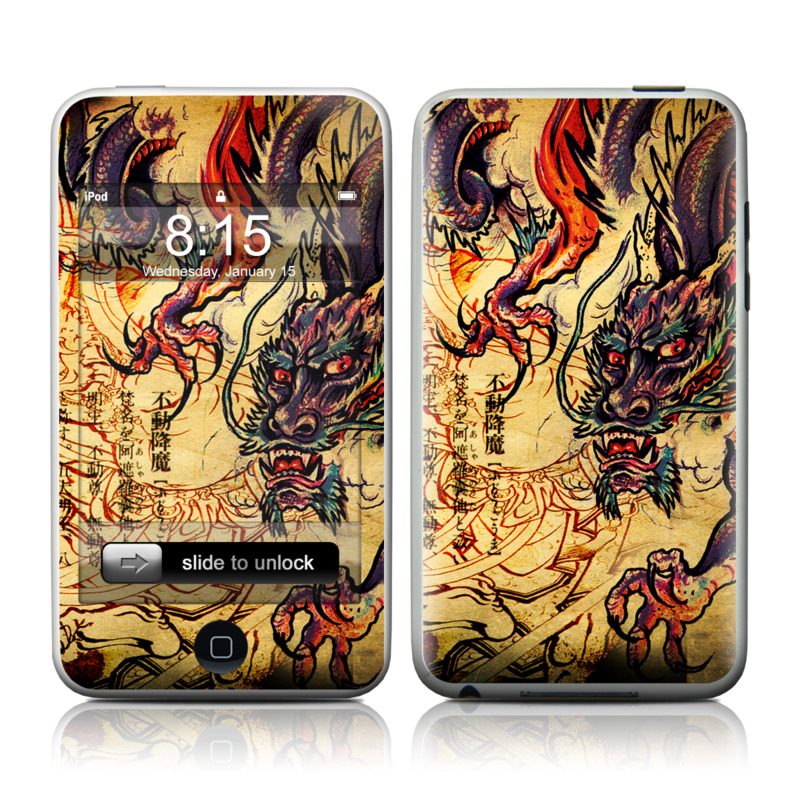 iPod touch 1st Gen Skin design of Illustration, Fictional character, Art, Demon, Drawing, Visual arts, Dragon, Supernatural creature, Mythical creature, Mythology with black, green, red, gray, pink, orange colors
