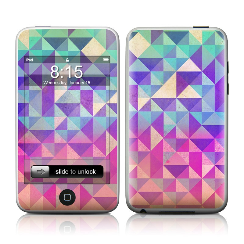 iPod touch 1st Gen Skin design of Pattern, Purple, Triangle, Violet, Magenta, Line, Design, Symmetry, Psychedelic art with gray, purple, green, blue, pink colors