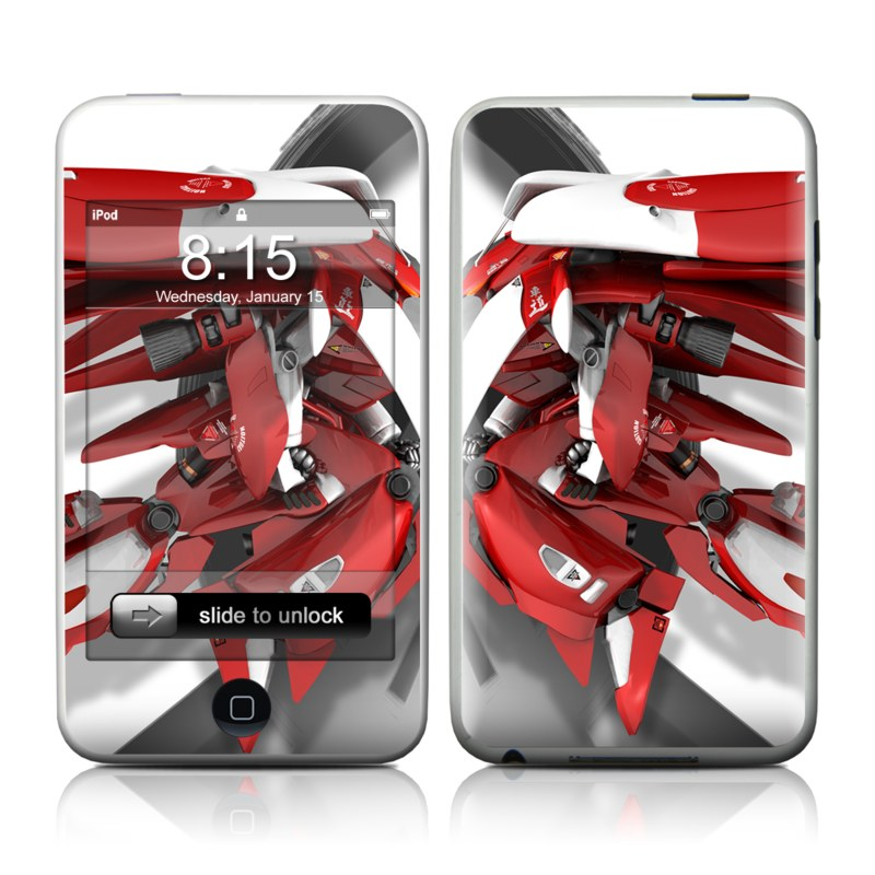 iPod touch 1st Gen Skin design of Vehicle, Red, Car, Auto part, Automotive exterior, Honda, Motorcycle with black, red, gray, white colors