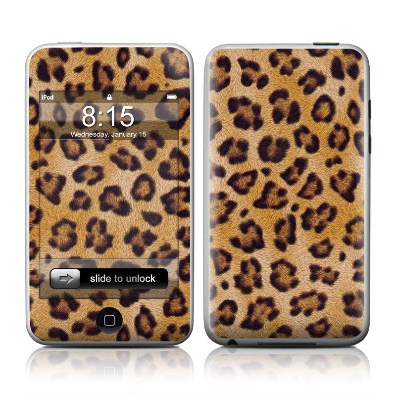 iPod touch 1st Gen Skin design of Pattern, Felidae, Fur, Brown, Design, Terrestrial animal, Close-up, Big cats, African leopard, Organism with orange, black colors