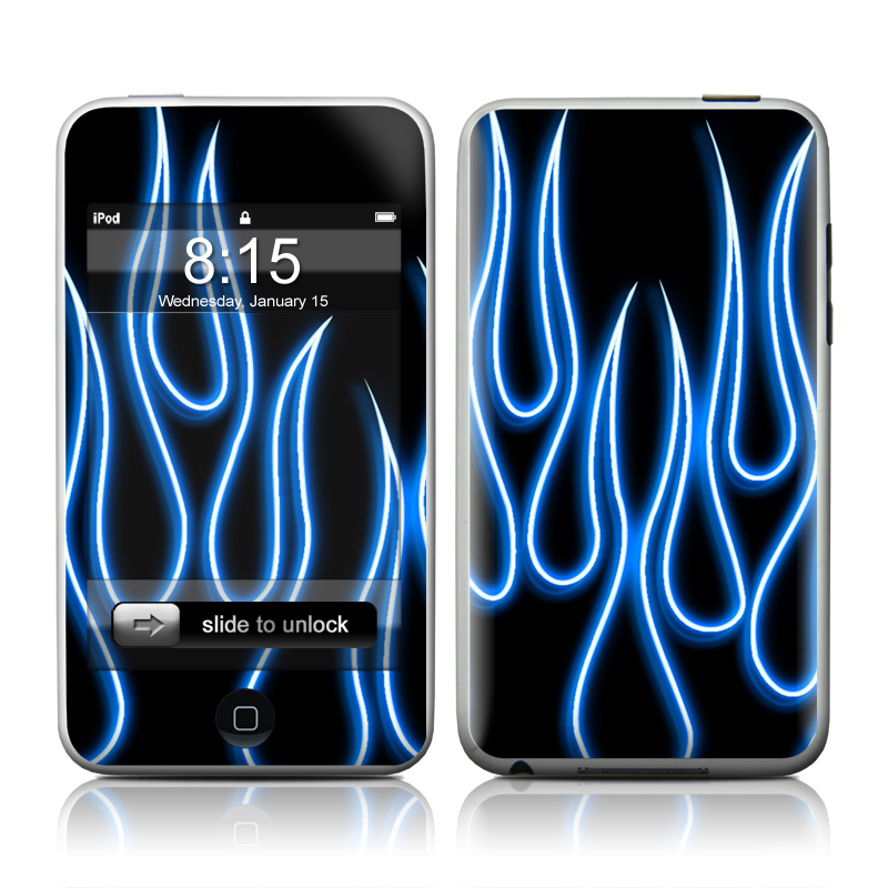 Blue Neon Flames iPod touch Skin