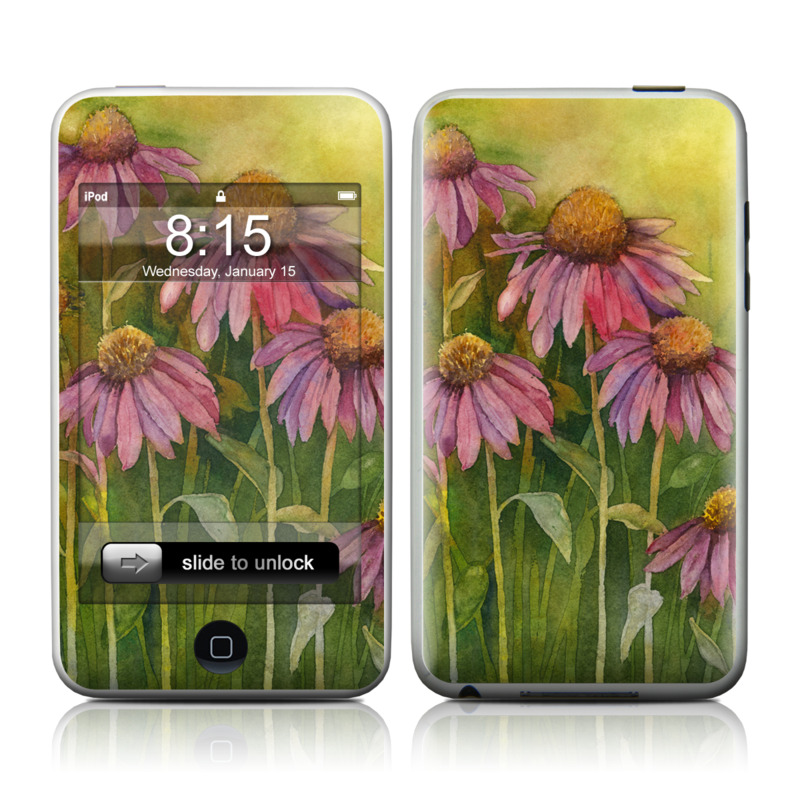 iPod touch 1st Gen Skin design of Flowering plant, Purple coneflower, Coneflower, Flower, Plant, Watercolor paint, Wildflower, black-eyed susan, Petal, Daisy family with black, green, red, gray, purple colors