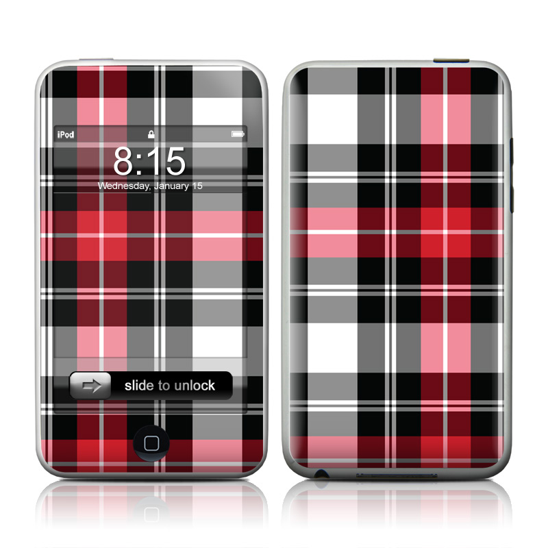 iPod touch 1st Gen Skin design of Plaid, Tartan, Pattern, Red, Textile, Design, Line, Pink, Magenta, Square with black, gray, pink, red, white colors