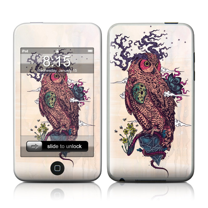 iPod touch 1st Gen Skin design of Owl, Bird, Illustration, Art, Bird of prey with pink, gray, black, red, yellow colors