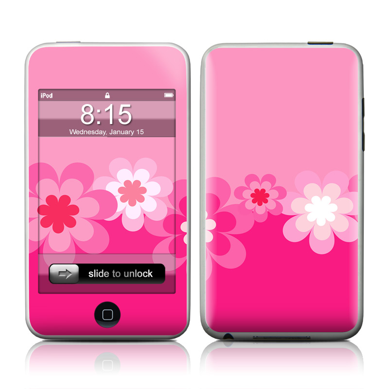 Retro Pink Flowers iPod touch Skin