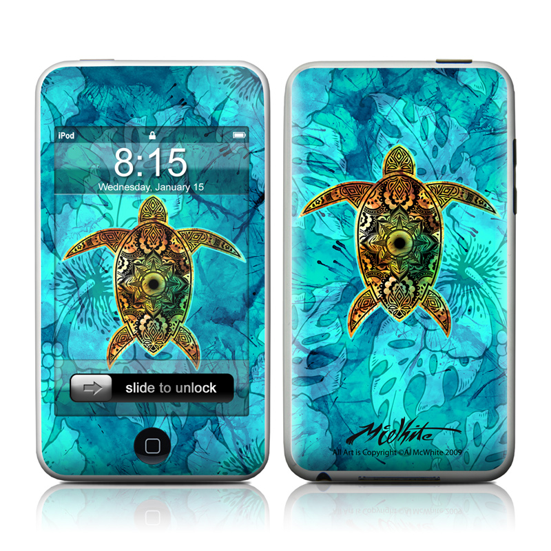 iPod touch 1st Gen Skin design of Sea turtle, Green sea turtle, Turtle, Hawksbill sea turtle, Tortoise, Reptile, Loggerhead sea turtle, Illustration, Art, Pattern with blue, black, green, gray, red colors