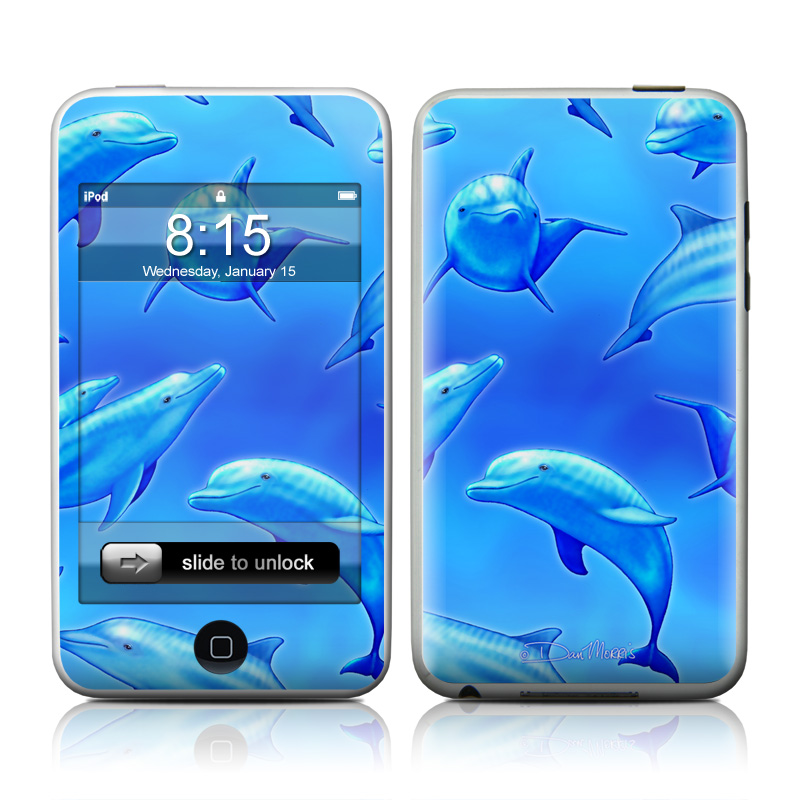 iPod touch 1st Gen Skin design of Fin, Marine biology, Fish, Cobalt blue, Blue, Underwater, Marine mammal, Dolphin, Electric blue with blue colors