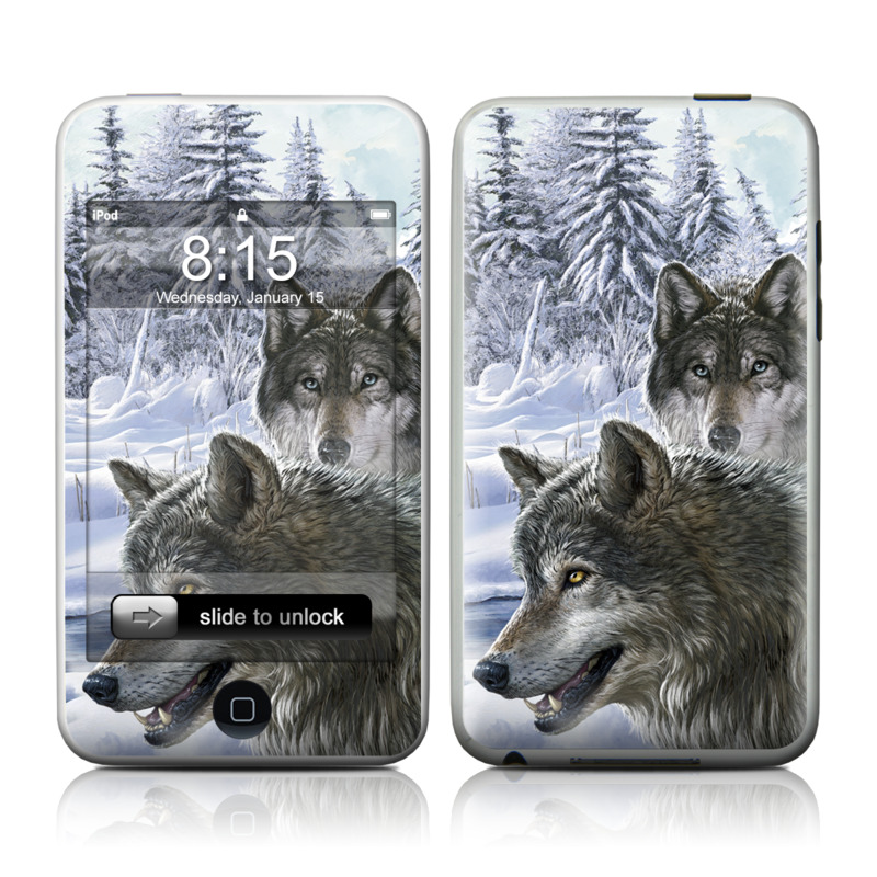 iPod touch 1st Gen Skin design of Mammal, Vertebrate, Wolf, Canidae, canis lupus tundrarum, Canis, Wildlife, Carnivore, Wolfdog, Dog with gray, black, blue, purple colors