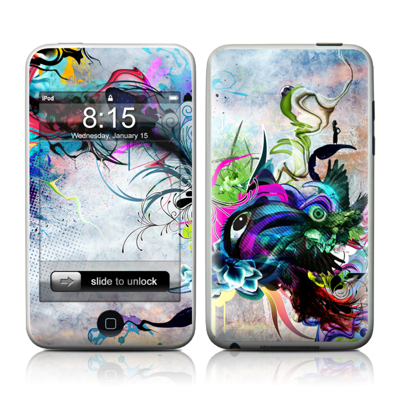 iPod touch 1st Gen Skin design of Graphic design, Psychedelic art, Art, Illustration, Purple, Visual arts, Graffiti, Street art, Design, Painting with gray, black, blue, green, purple colors