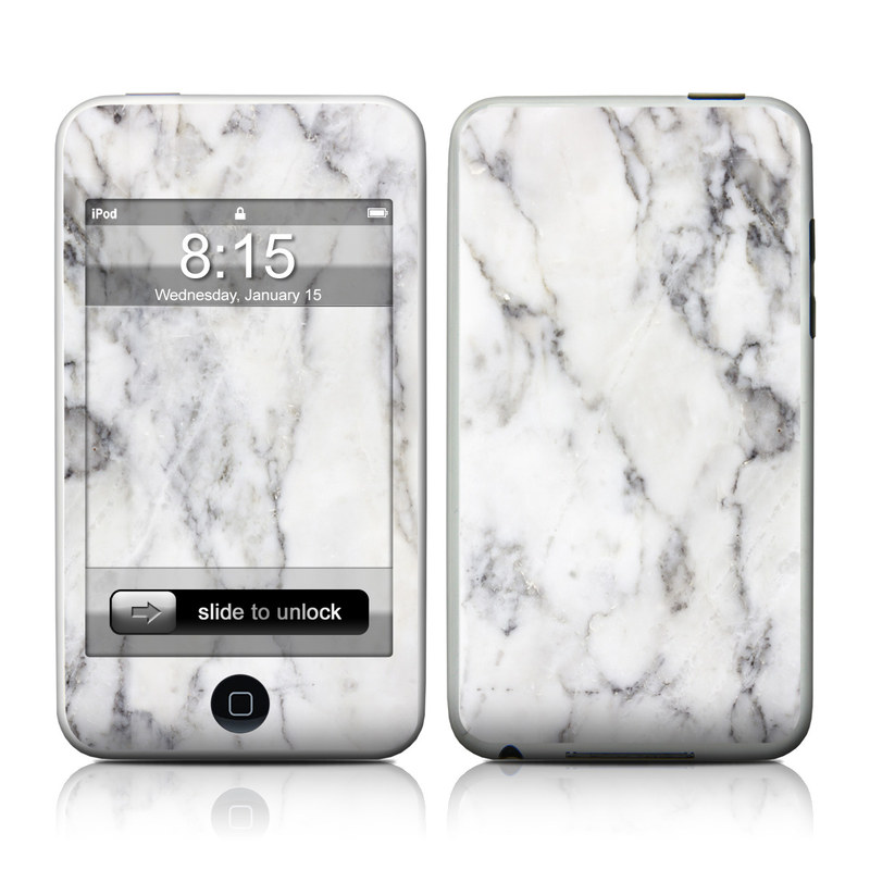iPod touch 1st Gen Skin design of White, Geological phenomenon, Marble, Black-and-white, Freezing with white, black, gray colors