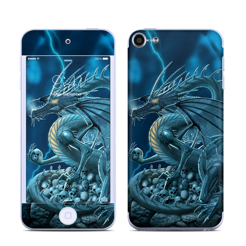 iPod touch 6th Gen Skin design of Cg artwork, Dragon, Mythology, Fictional character, Illustration, Mythical creature, Art, Demon with blue, yellow colors