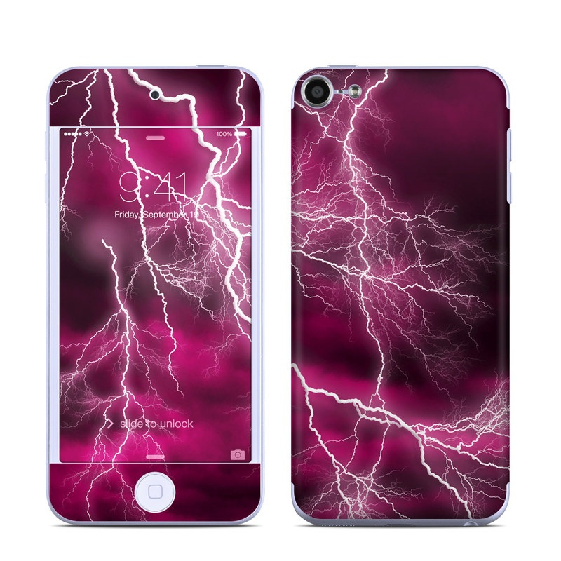 iPod touch 6th Gen Skin design of Thunder, Lightning, Thunderstorm, Sky, Nature, Purple, Red, Atmosphere, Violet, Pink with pink, black, white colors