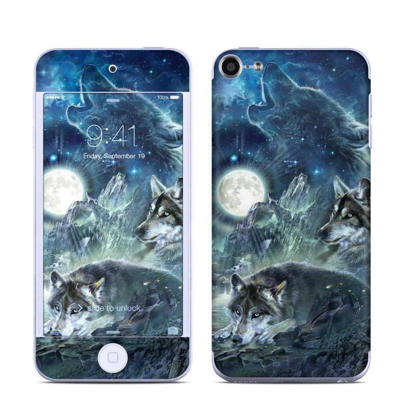 iPod touch 6th Gen Skin design of Cg artwork, Fictional character, Darkness, Werewolf, Illustration, Wolf, Mythical creature, Graphic design, Dragon, Mythology with black, blue, gray, white colors