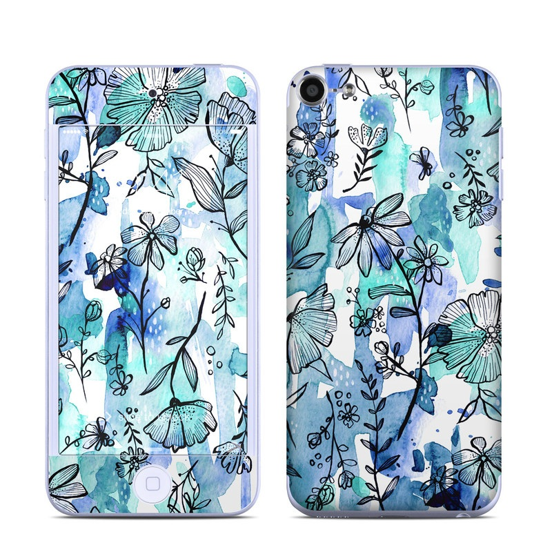 Blue Ink Floral iPod touch 6th Gen Skin