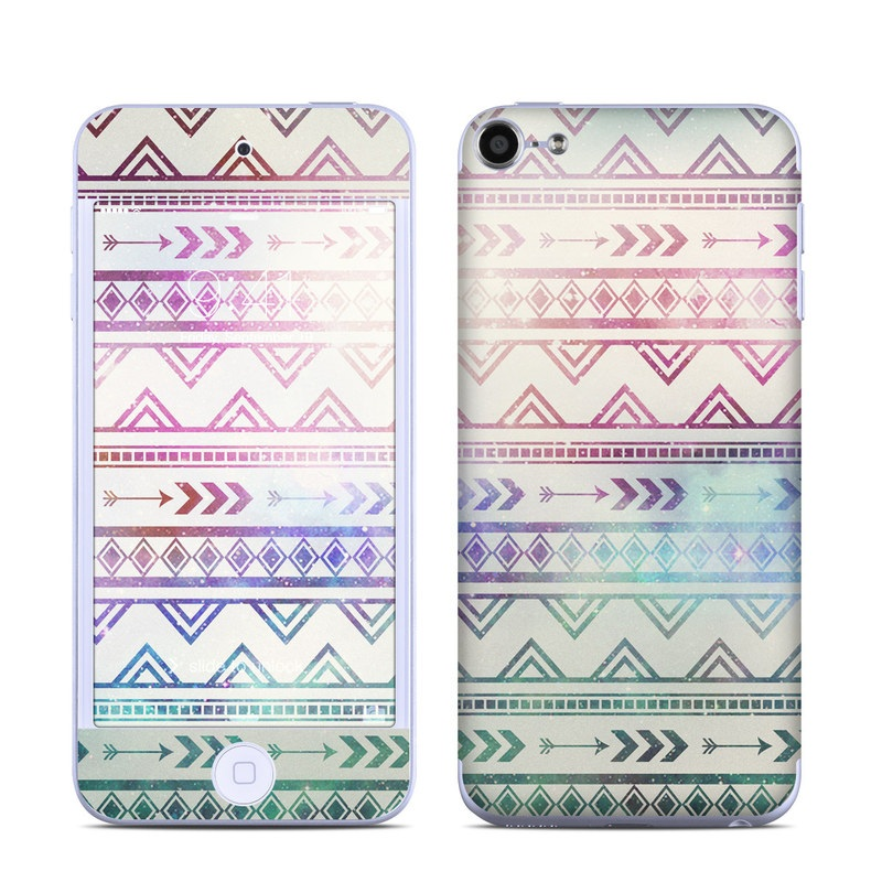 iPod touch 6th Gen Skin design of Pattern, Line, Teal, Design, Textile with gray, pink, yellow, blue, black, purple colors