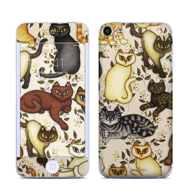 iPod touch 6th Gen Skin design of Cartoon, Illustration, Design, Pattern, Art, Cat, Fawn, Tail, Animal figure with black, brown, yellow, orange, green colors