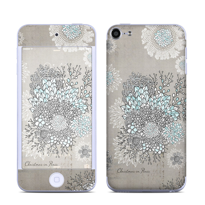 iPod touch 6th Gen Skin design of Pattern, Pedicel, Textile, Floral design with blue, white, black colors