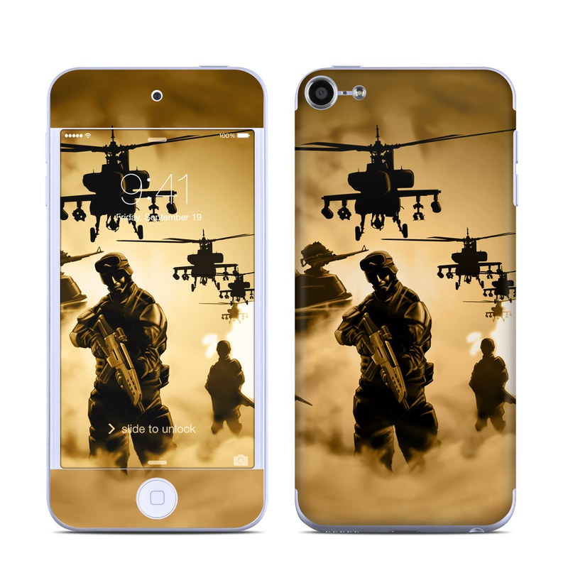 iPod touch 6th Gen Skin design of Soldier, Army men, Military organization, Infantry, Army, Military, Military person, Military uniform, Marines, Military officer with green, black, pink, red, gray, yellow colors