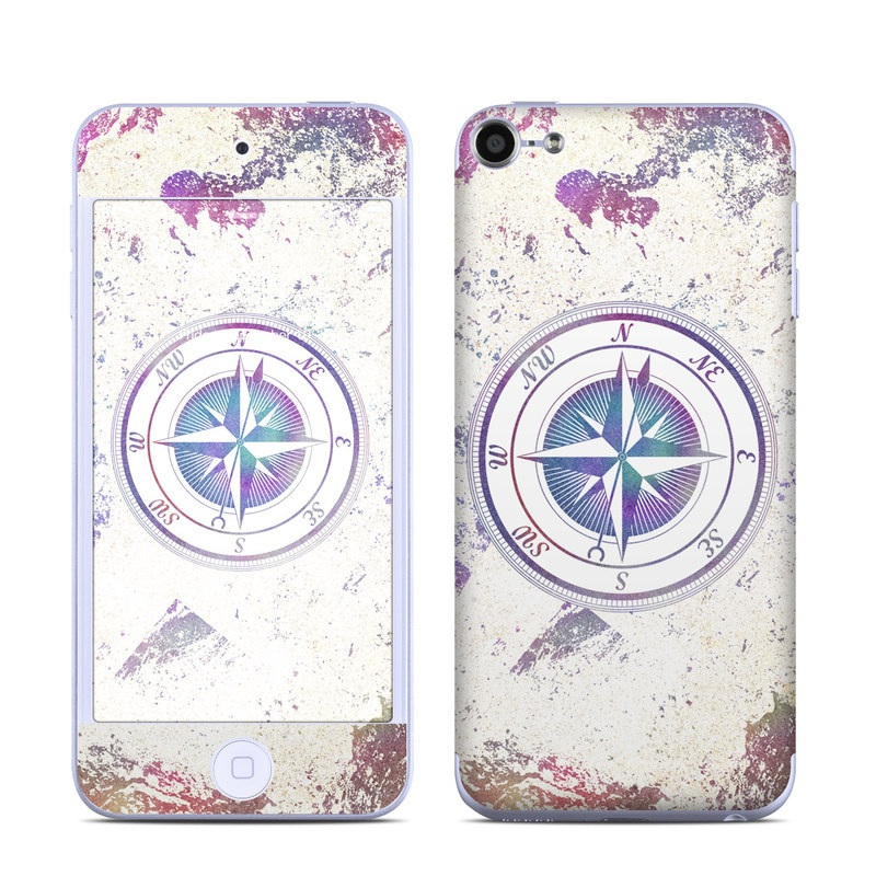 iPod touch 6th Gen Skin design of Clock, Circle, Compass, Graphics, Pattern, Illustration, Interior design with gray, white, yellow, pink, purple, blue colors