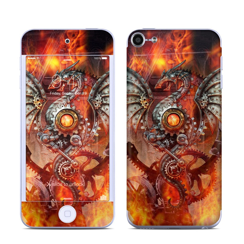 iPod touch 6th Gen Skin design of Dragon, Demon, Cg artwork, Illustration, Fictional character, Fractal art, Flame, Art, Mythology, Supernatural creature with red, black, orange, pink, green colors