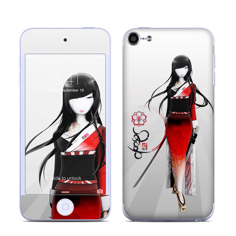 iPod touch 6th Gen Skin design of Fashion illustration, Fashion, Black hair, Illustration, Fashion design, Hime cut, Costume, Style, Costume design with gray, white, black, red colors