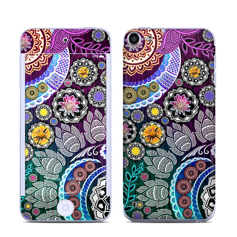 iPod touch 6th Gen Skin design of Pattern, Psychedelic art, Art, Visual arts, Design, Floral design, Textile, Motif, Circle, Illustration with black, gray, purple, blue, green, red colors