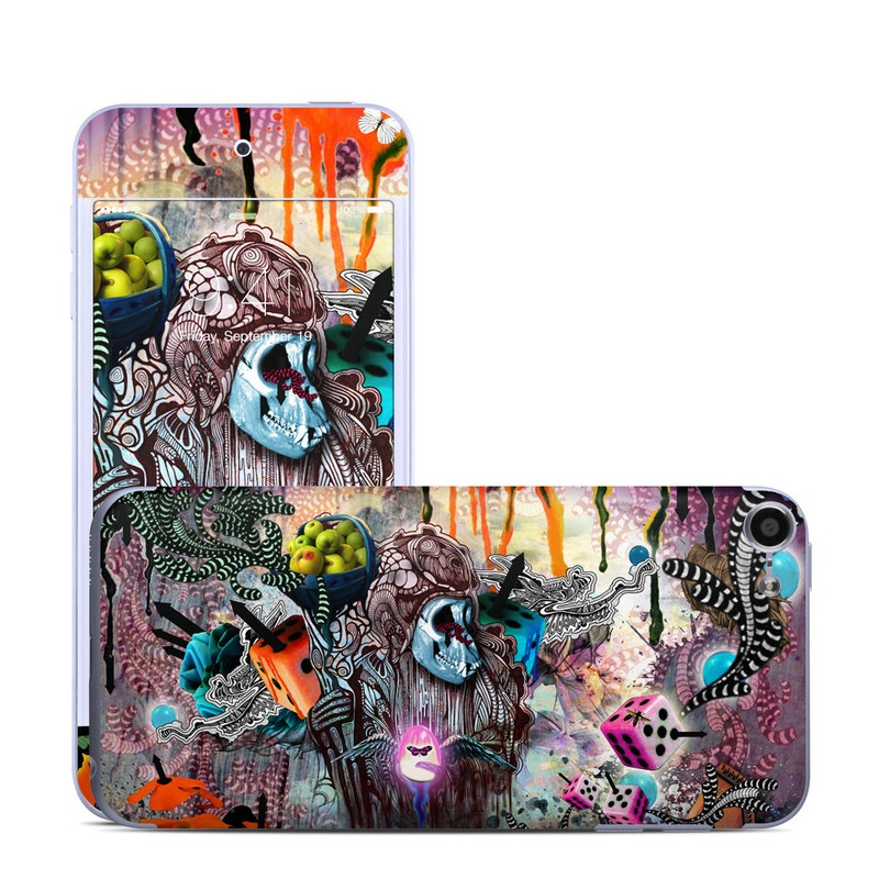 iPod touch 6th Gen Skin design of Graphic design, Art, Psychedelic art, Illustration, Organism, Design, Collage, Fiction, Font, Visual arts with black, gray, red, blue, pink, purple colors