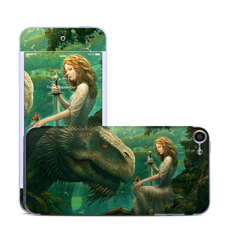 iPod touch 6th Gen Skin design of Dinosaur, Cg artwork, Mythology, Fictional character, Troodon, Extinction, Velociraptor, Illustration, Animated cartoon, Tyrannosaurus with black, green, gray, red colors