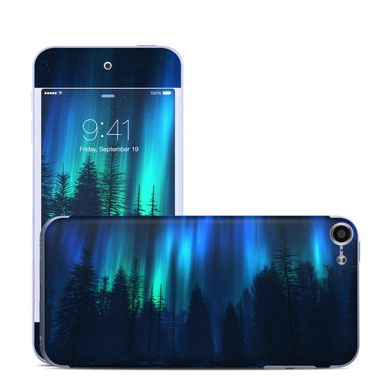 iPod touch 6th Gen Skin design of Blue, Light, Natural environment, Tree, Sky, Forest, Darkness, Aurora, Night, Electric blue with black, blue colors