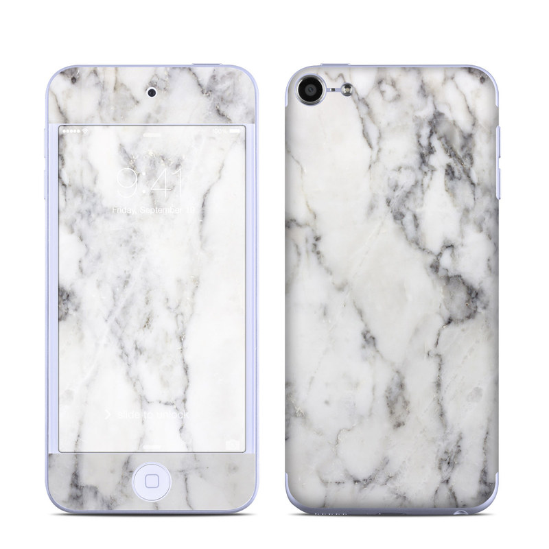 reputable site cf4a3 4aa05 White Marble iPod touch 6th Gen Skin
