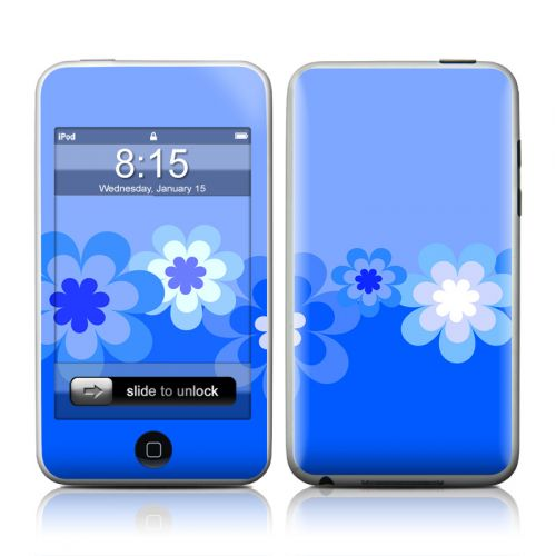 Retro Blue Flowers iPod touch 2nd Gen or 3rd Gen Skin