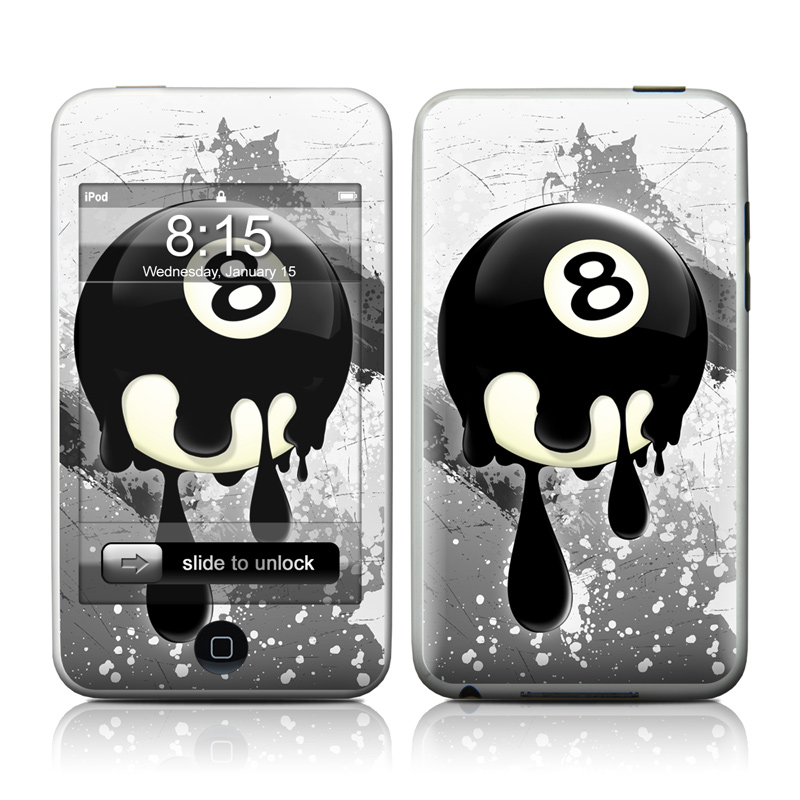 iPod touch 2nd & 3rd Gen Skin design of Eight-ball, Games, Billiard ball, Pool, Indoor games and sports, Cartoon, Ball, Graphic design, Pocket billiards, Animated cartoon with black, yellow, green colors